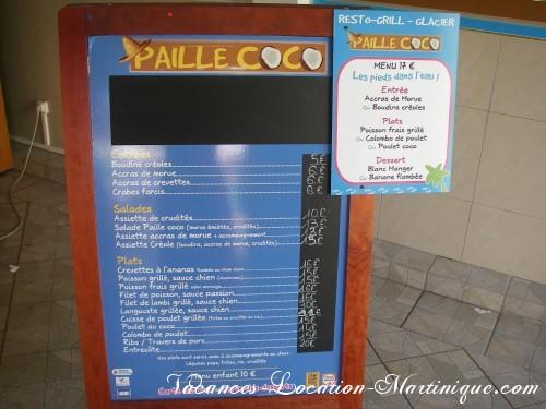 Aperçu de la carte du fameux restaurant Paille COCO qui fait souvent des animations le soir et qui est en bord de mer (et qui est à quelques pas de la villa)